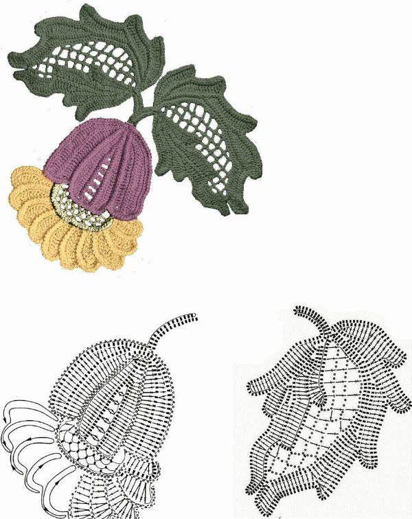 Ирландское кружево схемы мотивов красивых цветов